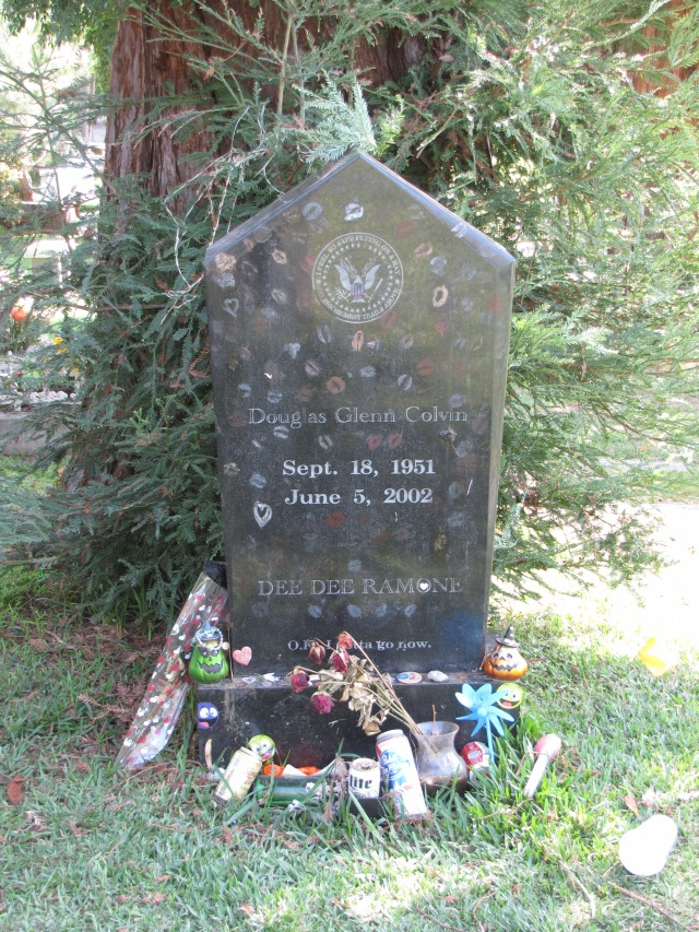 Dee Dee Ramone's gravestone in the Hollywood Memorial Park Cemetery.