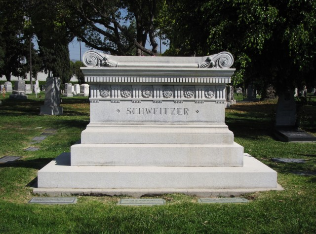 The Schweitzer Sarcophagus in the Hollywood Forever Cemetery, Southern California
