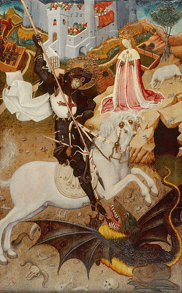 Saint George Killing the Dragon painted by Catalonian artist Bernat Martorell circa 1434