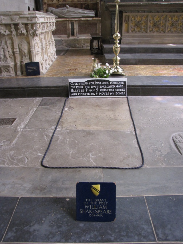 Shakespeare's grave in the Holy Trinity Church Chancel at Stratford-upon-Avon