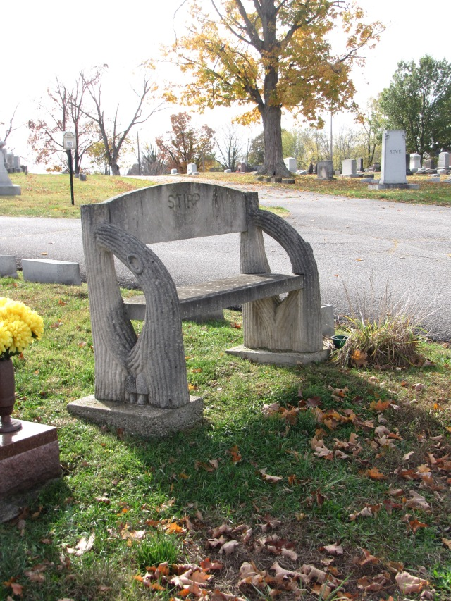Note the mushrooms carved into the bench--can you spot them?
