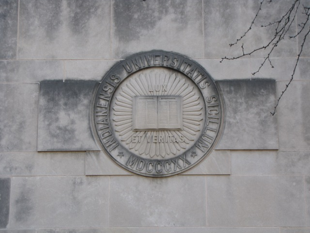 Carving above a doorway at Foster's Quad at Indiana University